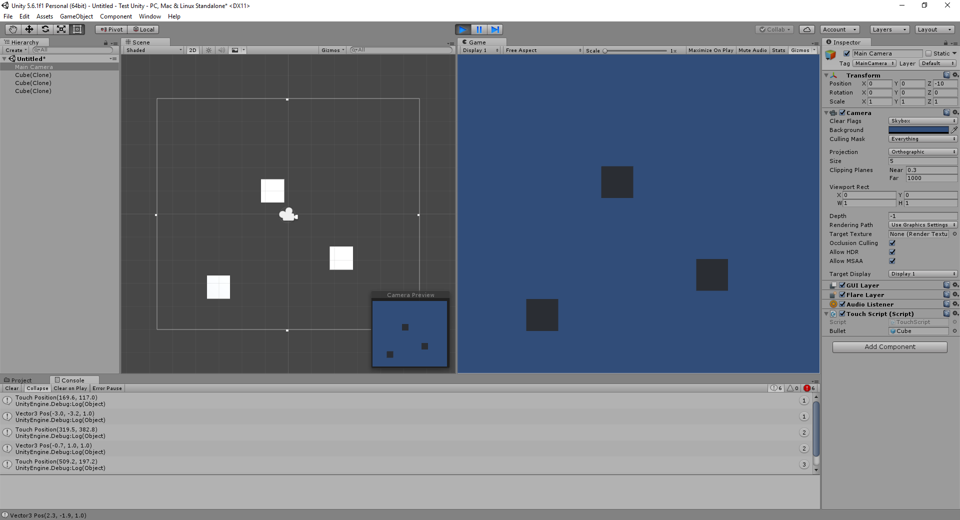 Unity 2D C# Script to Spawn Object on Screen at Touch Position