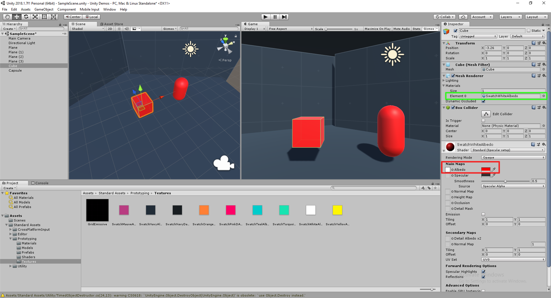 Unity 3D – Changing color on game object changes color on