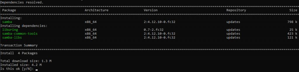 Installing SMB on Fedora